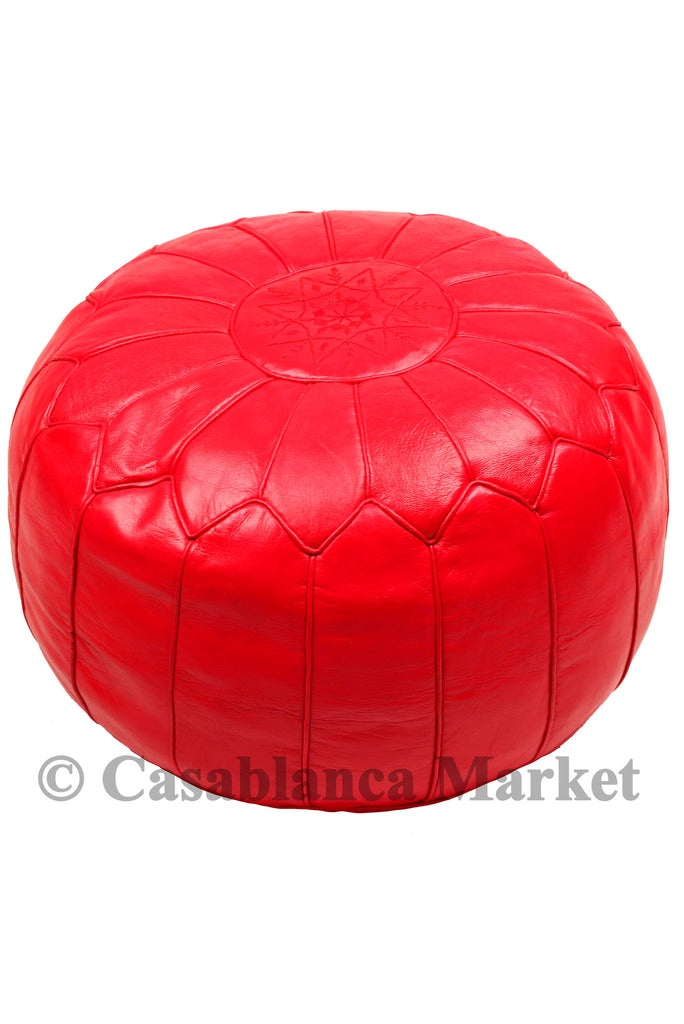 Simple Leather Pouf, Red