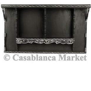 Vintage Moroccan Wood Shelf, Black & White
