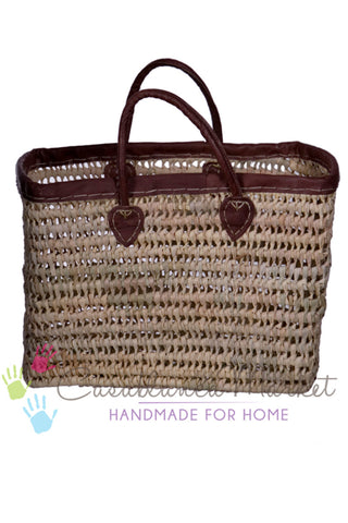 Deep Market Basket with Brown Straps