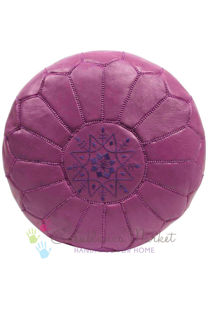 Embroidered Leather Pouf, Lavender