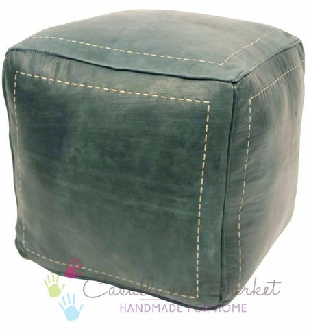 Moroccan Contemporary Leather Pouf, Stonewash