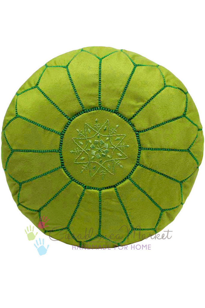 Suede Leather Pouf, Lime Green