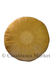 Suede Leather Pouf, Gold Mustard