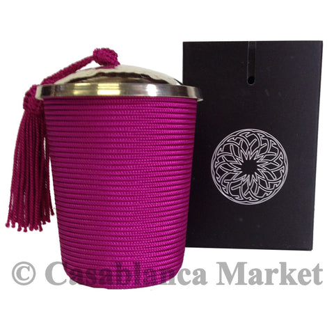 Silk Wrapped Candle, Purple