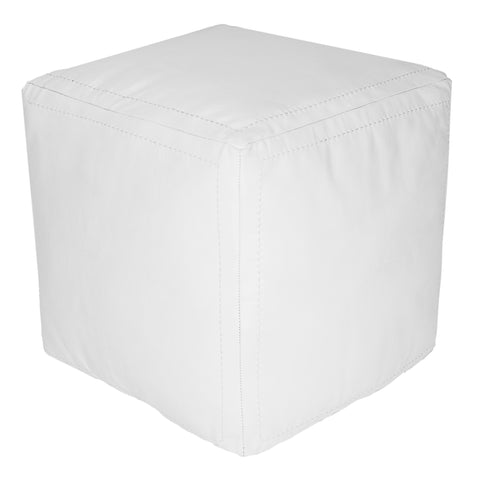Moroccan Contemporary Leather Pouf, LaNeige