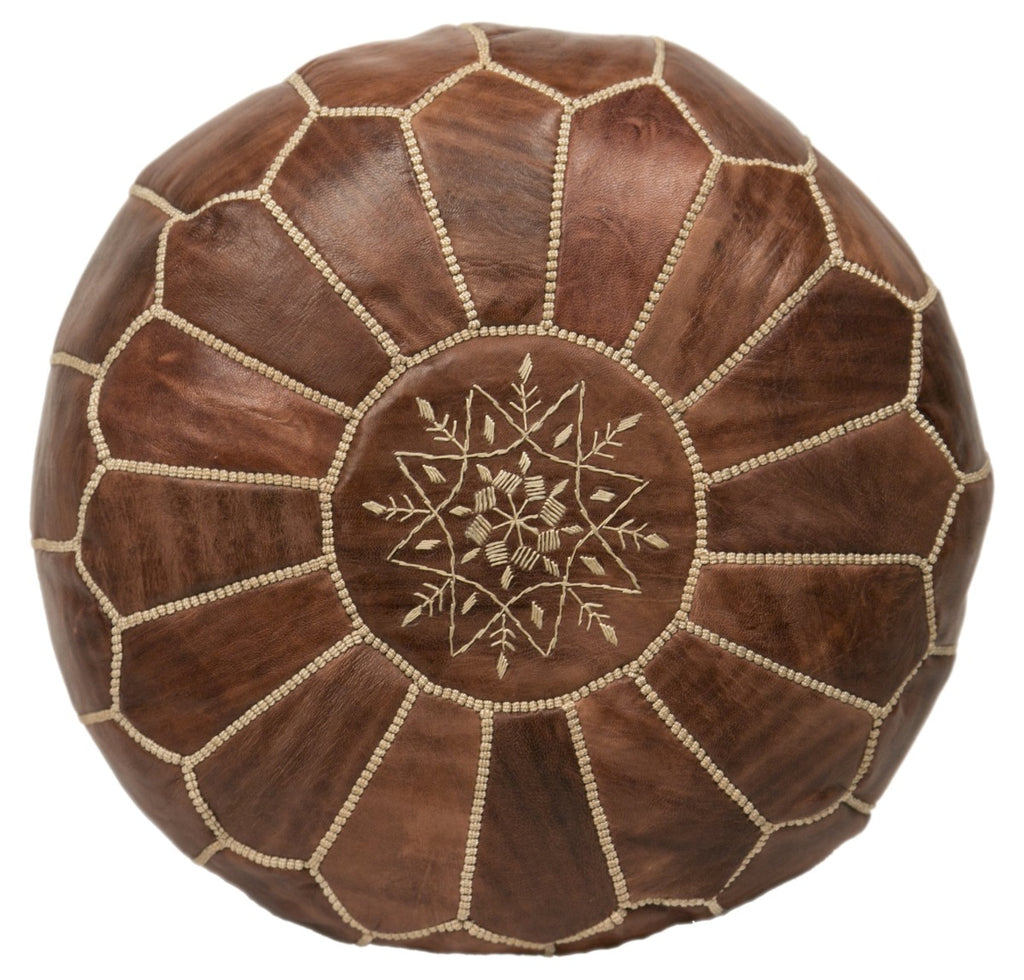 Embroidered Leather Pouf, Chestnut