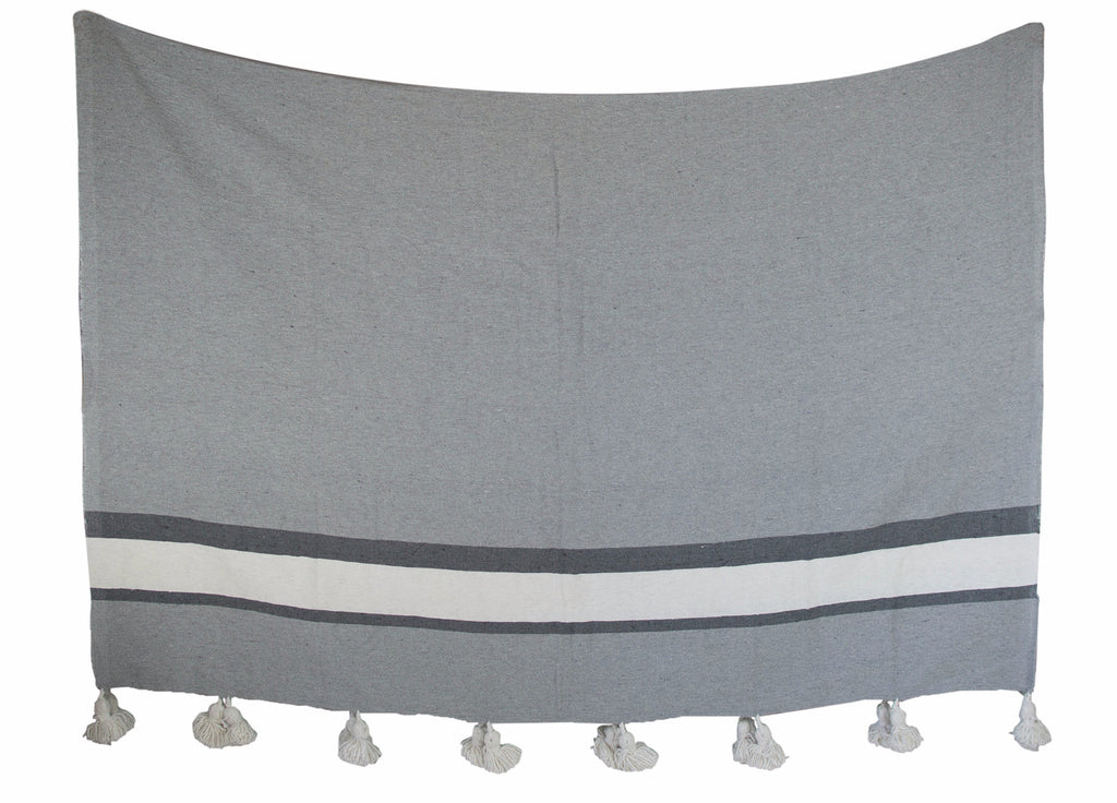 Moroccan Pom Pom Blanket, Dark Grey and White Stripes on Grey with White Pom Poms