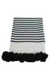 Moroccan Pom Pom Blanket, Black and White Stripes with Black Pom Pom