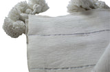 Moroccan Pom Pom Blanket, Silver on White with White Pom Poms