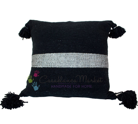 Moroccan Pom Pom Pillow Silver on Black