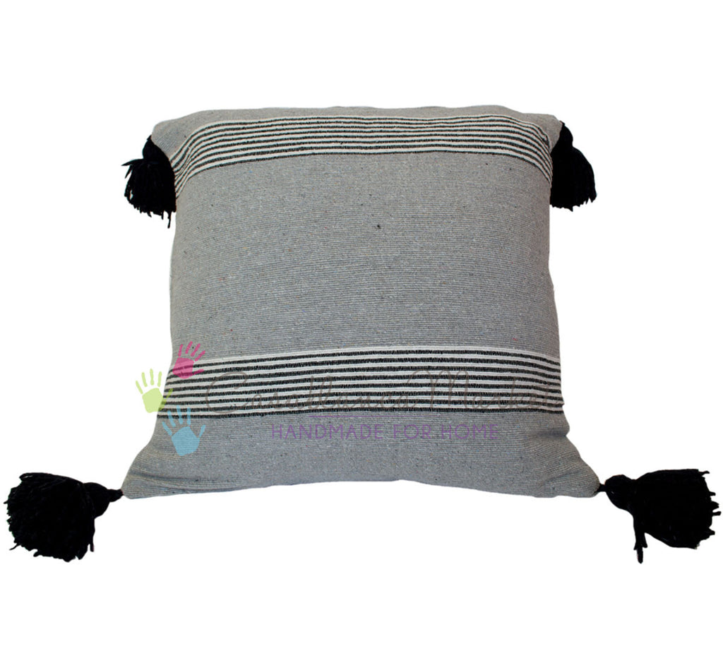 Moroccan Pom Pom Pillow, Black and White Stripes on Gray