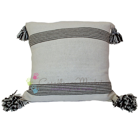 Moroccan Pom Pom Pillow Brown Stripes on White