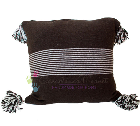 Moroccan Pom Pom Pillow White Stripes on Brown