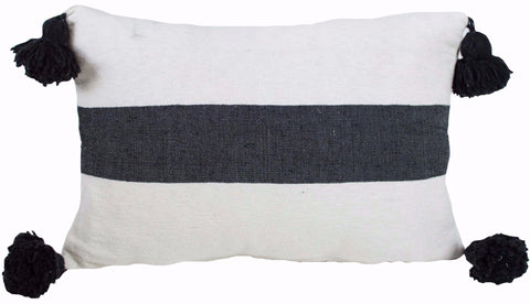 Moroccan Pom Pom Pillow, Black on White