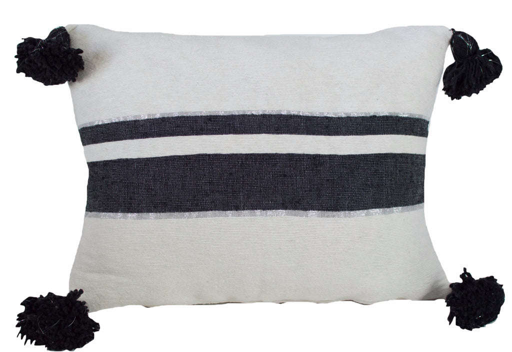 Moroccan Pom Pom Pillow, Black and Silver Stripes on White