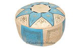 Marrakech Leather Pouf, Baby Blue