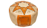Marrakech Leather Pouf, Orange