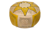 Marrakech Leather Pouf, Yellow