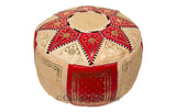 Marrakech Leather Pouf, Red