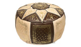 Marrakech Leather Pouf, Brown