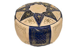 Marrakech Leather Pouf, Dark Blue