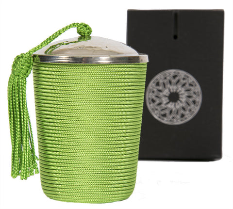 Silk Wrapped Candle, Green