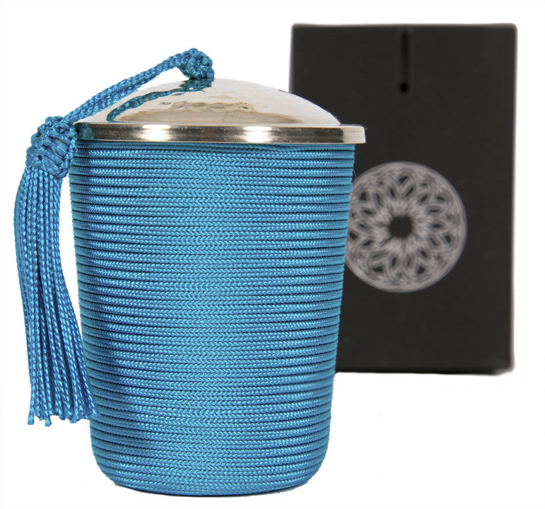 Silk Wrapped Candle, Blue