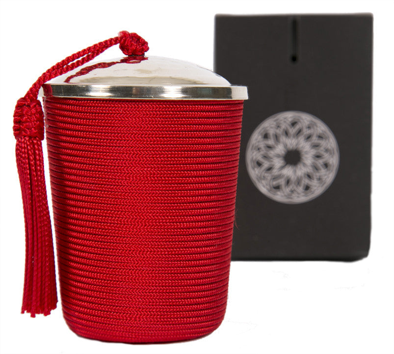 Silk Wrapped Candle, Red
