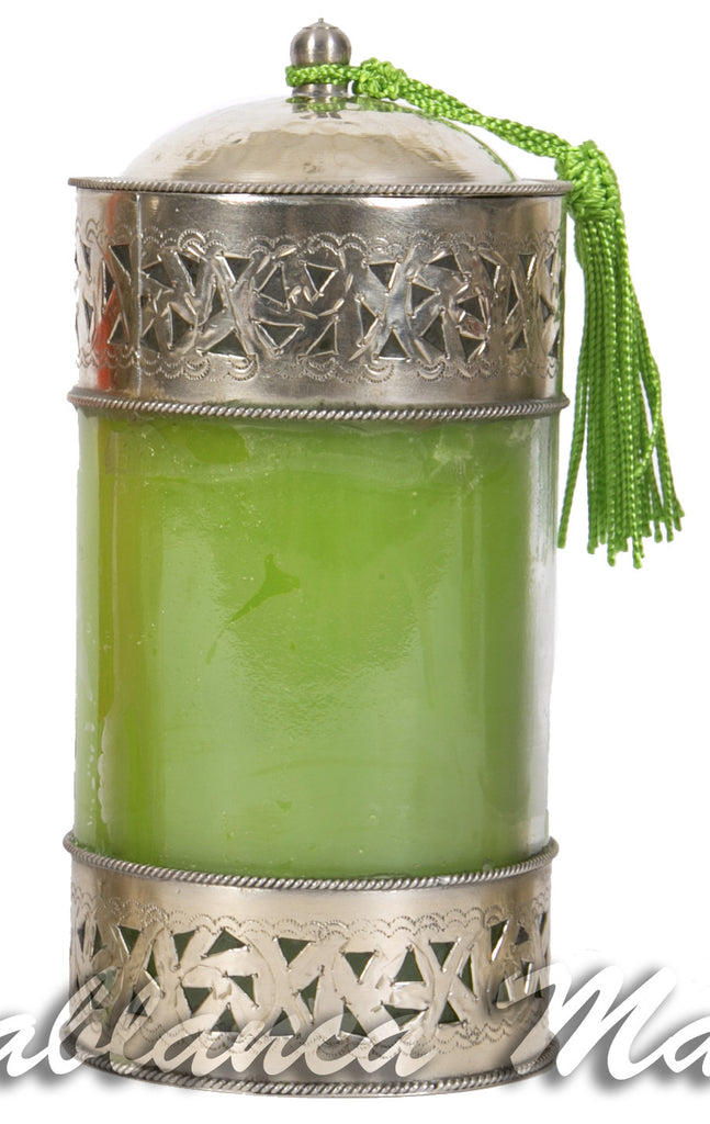 Aromatherapy Candle with Silk Tassle, Green