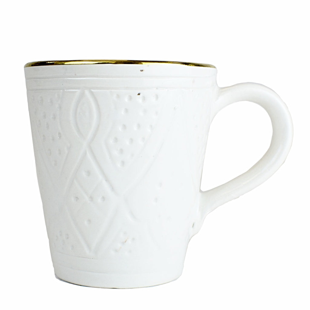 Coffee Mug, White Gold