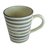 Coffee Mug, Grey and White Stripes
