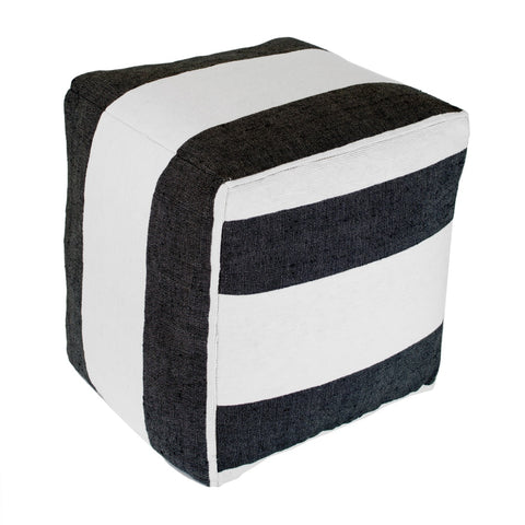 Moroccan Fabric Ottoman, Black Stripe On White