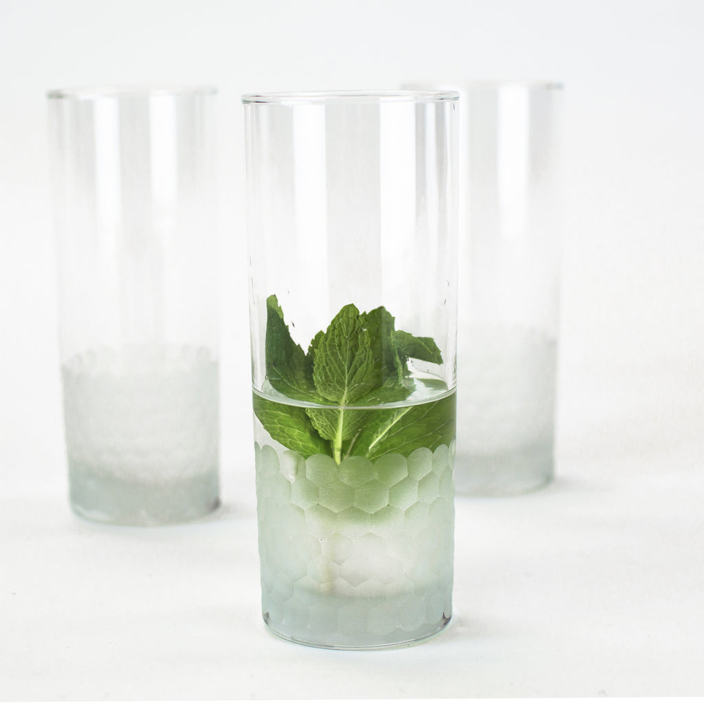 Moroccan Minimalist Chic Water Glasses, Sandy on Clear (Set of Six)