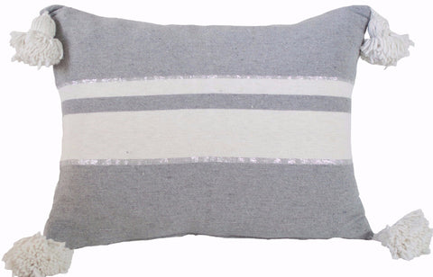 Moroccan Pom Pom Pillow,  Silver and White Stripes on Grey with White/Silver Pom Poms