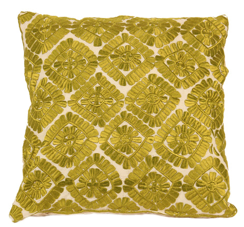Moroccan Embroidered Pillow, Green