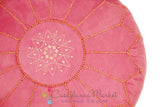 Suede Leather Pouf, Pink