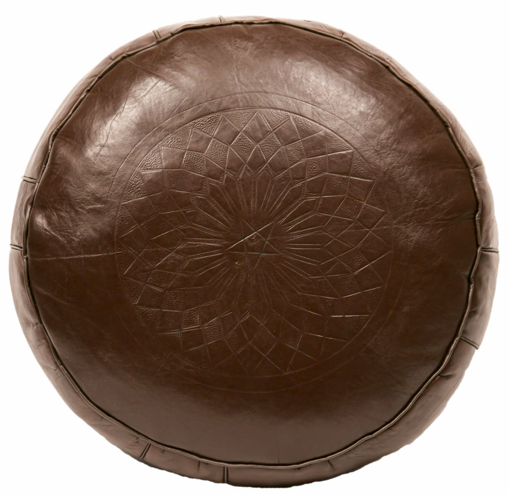 Solid Color Leather Pouf, Brown