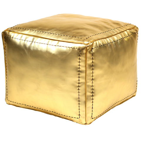 Gold Moroccan Square Faux Metallic Leather Pouf