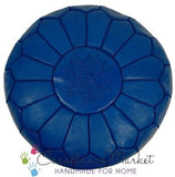 Embroidered Leather Pouf, Dark Blue