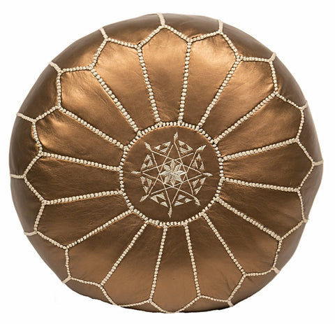 Embroidered Faux Metallic Leather Pouf, Bronze