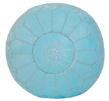 Embroidered Leather Pouf, Baby Blue