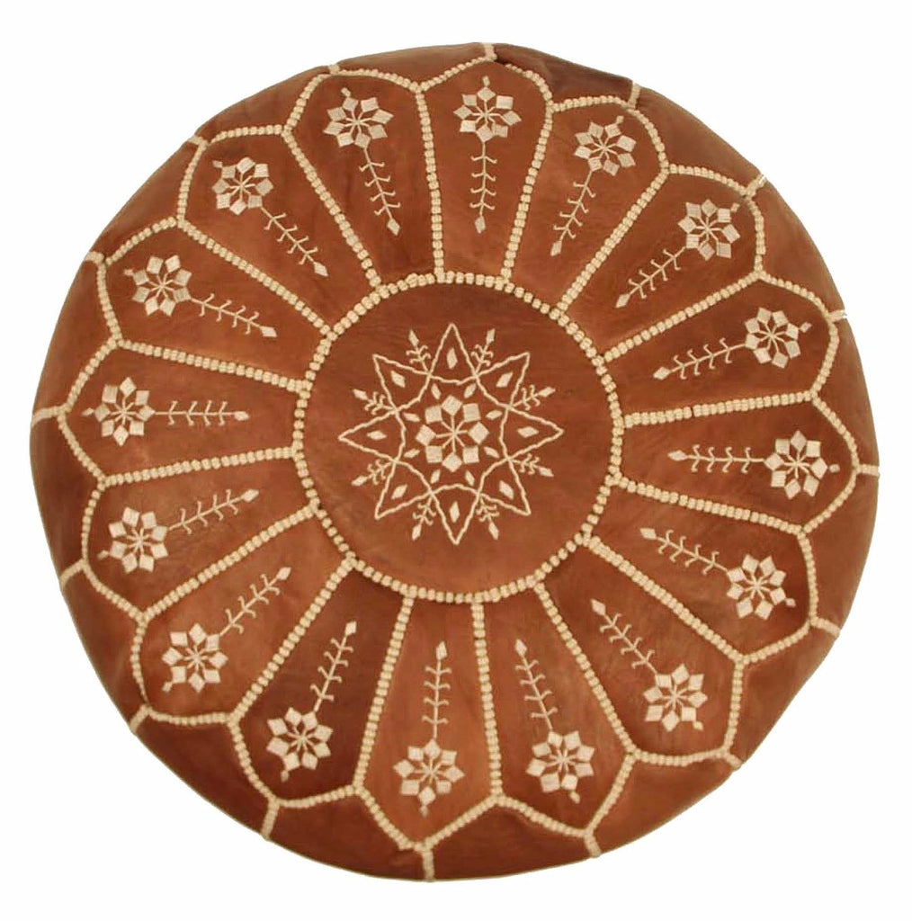 Embroidered Leather Pouf, Chestnut Starburst Stitch