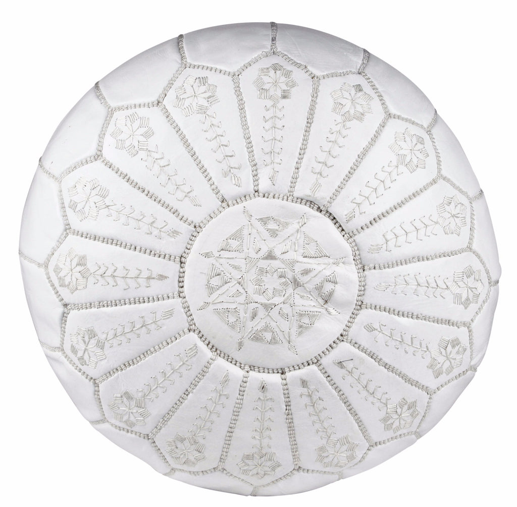 Embroidered Leather Pouf, White on White Starburst Stitch