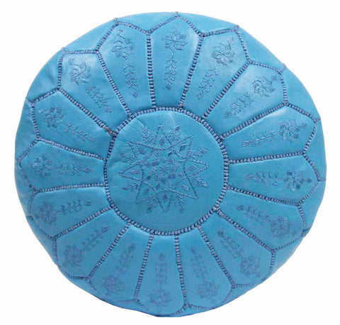 Embroidered Leather Pouf, Sky Blue Starburst Stitch