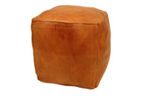 Moroccan Contemporary Leather Pouf, Saddle Tan
