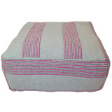 Moroccan Fabric Ottoman, Gray and Pink Stripes