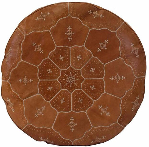 Grand Luxurious Leather Pouf, Desert Tan