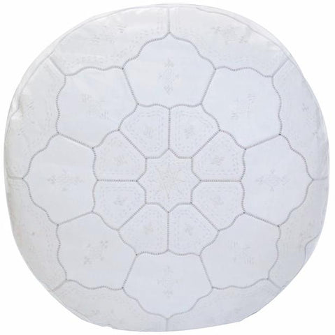 Grand Luxurious Leather Pouf, White on White