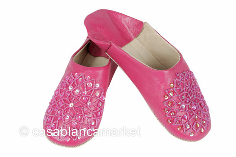 Leather Slippers, Fuchsia
