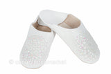 Leather Slippers, White